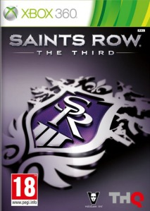 'Saints' Row The Third' game cover, prominently labelled with an 18 PEGI certification