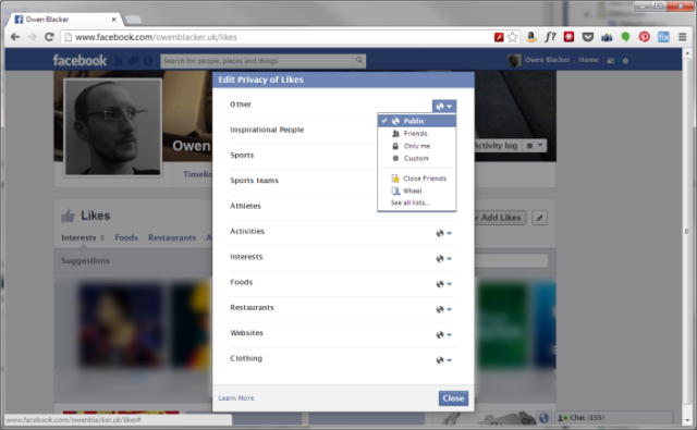 Facebook: Edit Privacy of Likes, by category
